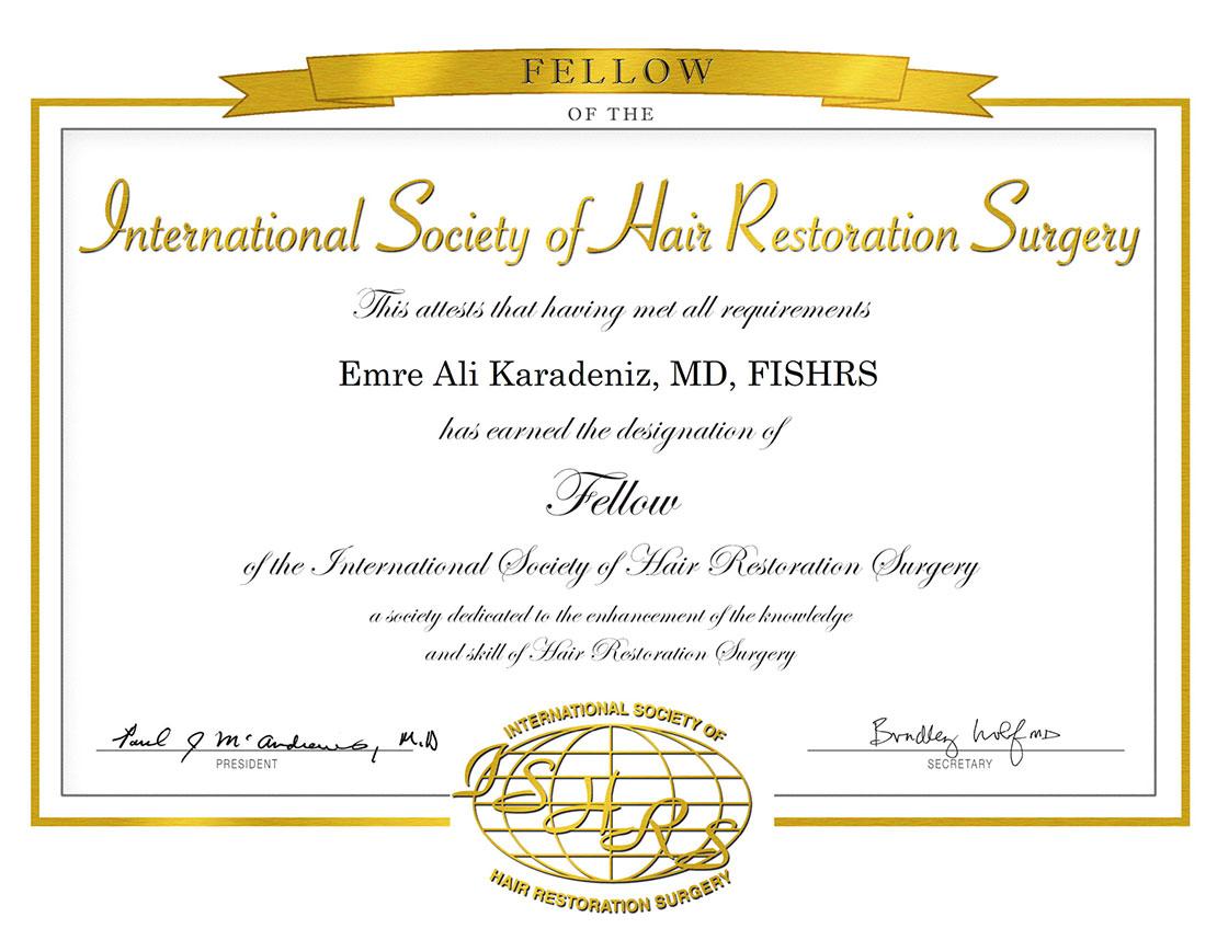 Dr. Ali Emre Karadeniz Fellow ISHRS Certificate